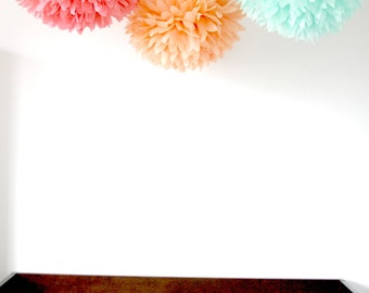 Nursery decor ... 3 Poms ... Baby Mobile / Crib Mobile / Party Decorations / weddings / baby shower