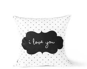I LOVE YOU - Pillow Cover - Black Polka Dots With Coral Frame -  Kids Cushion Cover