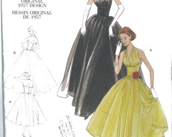 2962 Original 1957 Design UNCUT Vintage Evening Dress Sewing Pattern Vogue V2962 Bust 29.5 to 32.5