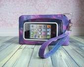 cell phone wristlet, Touch Screen Wristlet, tie dye, plum purple