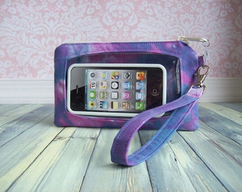 cell phone wristlet, Touch Screen Wristlet, tie dye, plum purple