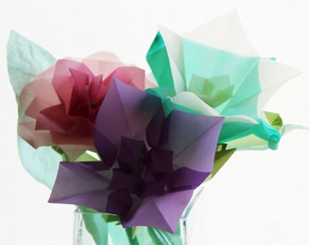 Mixed Origami Flower Bouquet - Translucent Origami Paper - Paper Flowers - Origami Paper sculpture - Bouquet - Home Decor - Gift Idea