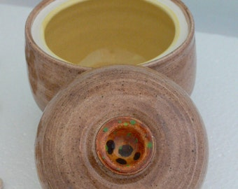 Ceramic Handmade Lidded Pot In Brown And Yellow