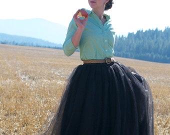 Maxi Tulle Skirt by Kellie Falconer // Full Length Holiday Black Tulle Skirt // Flat Waistband // Maxi Hem