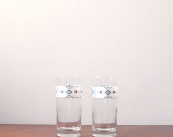 Vintage Southerwestern Drinking Glasses, Indian Aztec Print