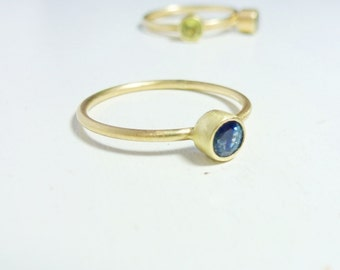 Bi-color Sapphire ring, 14K Gold Ring - Engagement Ring, Stacking ring, Blue sapphire ring