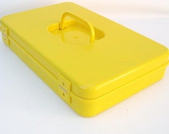 Vintage Sewing Box Thread Rack Yellow Plastic Organizer Case Wood Spools and Sewing Supplies