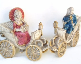 Vintage Chalkware Plaques, 3D Wall Plaques, Chalkware Figures, Victorian Wall Art - Set of 2