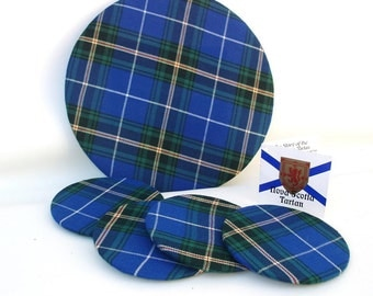 Vintage Plaid Trivet / Drink Coasters / Tartan Barware / Plaid Bar Accessories -  Set of 5