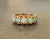 Victorian Opal Ring- Opan Engagement Ring- Unique Vintage Opal Ring-Antique Opal Ring-Opal Band-Opal Wedding Ring-Opal Stacking Ring-October