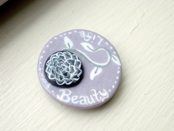 Lavender, Gray and White Life & Beauty Flower - Hand-painted Polymer Clay Magnet