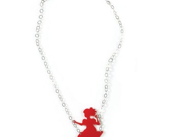 Girl on a swing, Birthday gift, Red necklace, Red pendant, Mother daughter gift, plexiglass necklace, Laser cut necklace