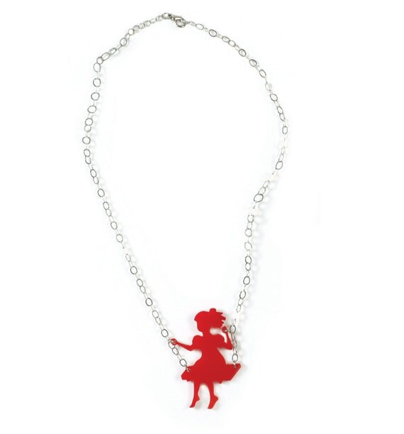 Girl on a swing, Red necklace, Red pendant, Mother's daughter gift, plexiglass necklace, Laser cut necklace