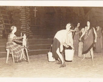 Back Breaking Work- 1940s Vintage Photograph- Lost Colony- Roanoke Island, North Carolina- Real Photo Postcard- RPPC- Paper Ephemera