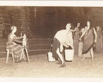 Back Breaking Work- 1940s Vintage Photograph- Lost Colony- Roanoke Island, North Carolina- Real Photo Postcard- RPPC- Paper Ephemera