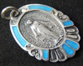 "Vintage Blue Enamel Mother Mary Silver Miraculous Religious Medal Pendant on 18"" sterling silver rolo chain"