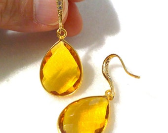 Yellow Citrine Earrings, Quartz Earrings, Gold Earrings, Crystal Dangle Earrings, Gemstone Earrings, Pear Drop Earrings, Birthday Gift, HERA