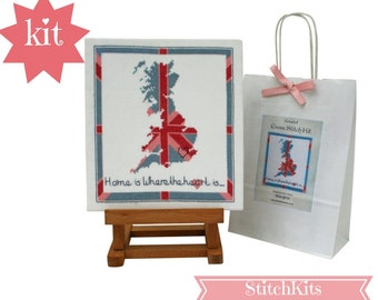 Home is Where the Heart is, Union Jack, British Isles Map. DIY kit. Contemporary Cross Stitch Kit