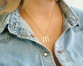 Initial Necklace Gothic Necklace Name necklace custom necklace, gift ideas for her, old english font old english initial necklace