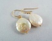 O C E A N - Coin Pearl Earrings in Champagne with Gold Fill Ear Wires by Mandy Lemig
