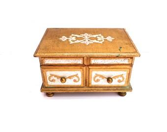 Vintage Italian Florentine Toleware Jewelry Box Gold Gilded jewelry box Red Velvet Jewelry Box Florentine Music Box Musical jewelry box