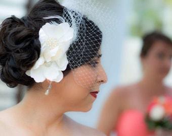 Ivory Feather Bridal Birdcage Veil- Large Flower Fascinator-Wedding Headpiece