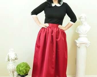 Burgundy Duchess Satin Ball Gown Skirt long full pleated and gathered Full Length Maxi skirt Custom made