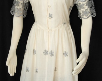 Delphine Dress, Cream with Lace Detail