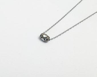 Pave Rose Cut Diamond Bead Silver Necklace, Oxidized SIlver, Chain Necklace, Diamond Necklace