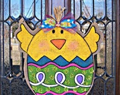 Burlap Easter Chick Door Hanging