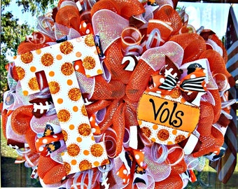 Tennessee Vols Mesh Wreath, Tennessee wreath, deco mesh wreath, vols wreath, football wreath, wreath, door wreath, Tennessee decor