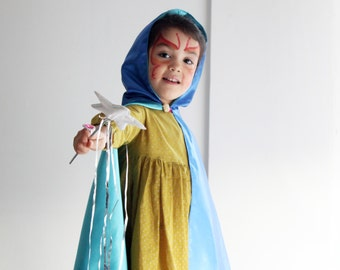 Hooded wizard cape for kids, reversible. Carnival costume accessory. Made to order.
