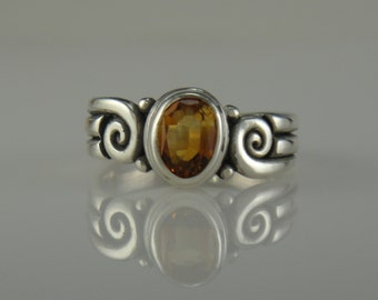 Sterling Silver Golden Citrine Ring- One of a Kind