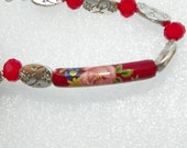 Valentine's Day Bracelet Flower Red bracelet Mothers Day Bracelet  silver bracelet flower bracelet crystal bracelet valentines jewelry
