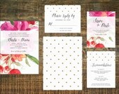 Printable Watercolor Wedding Invitation Suite | Pink Wedding Invitation, Watercolor Flower Invitation, Wedding Set, Fuchsia Wedding
