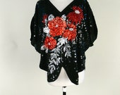SALE!   Vintage 1980's glam sequined floral slouchy blouse