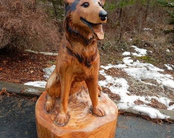 Dog Portrait - Custom Chainsaw Sculpture Wooden Art
