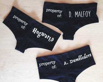 Property of Hogwarts/A Dumbledore/D Malfoy Undies - Inspired by Harry Potter - Made in USA