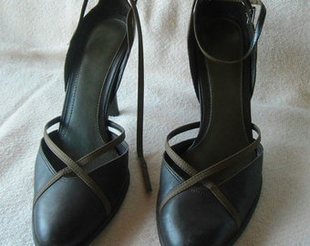 Womens Vintage Heels, 9 West, Brown Leather Pumps, High Heels, Size 8.5