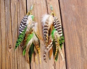 Custom full and fluffy greens and browns with grizzly feather earrings
