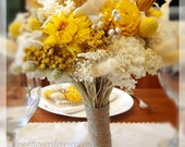 Yellow Sunny Collection  - Bridal Bouquet -  Natural dried and preserved flower wedding bouquets - gold pale yellow cream hydrangea sola