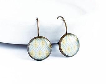 Blue yellow earrings pastel jewelry lever clasp earrings