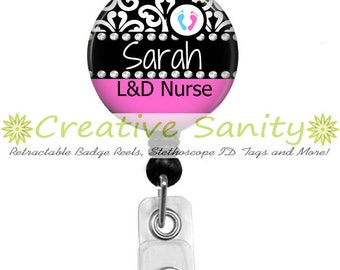 Personalized Nurse Retractable ID Badge Holder, Personalized L&D Nurse with Cute Baby Feet, Retractable Badge Reel