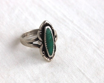 Green Turquoise Ring Size 5 Sterling Silver Vintage Southwest Jewelry Boho Pinky Ring