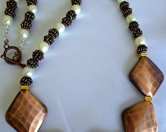 Brushed copper look  diamond bead necklace with copper spiral beads