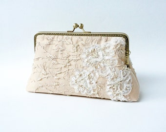 Precious Champagne Gold Wedding Purse / Beaded and Appliquéd Lace Silk Clutch / bridesmaid clutch /  Evening clutch / Formal Party Purse