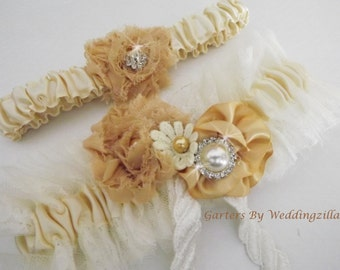 Rustic Wedding Garter Set, Lace and Tulle Shabby Chic Bridal Garter Set, Ivory Champagne Garter Set,  OOAK Victorian