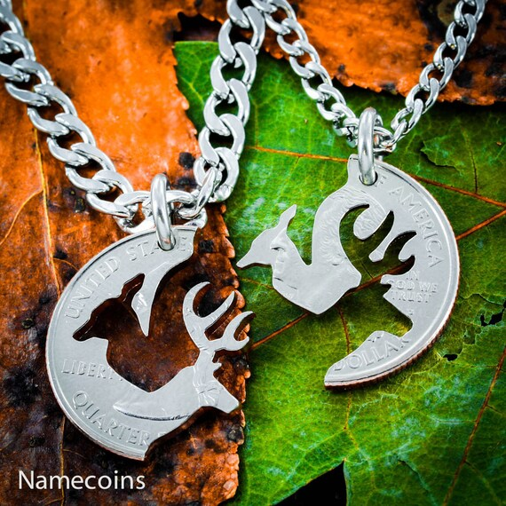 Buck and Doe Necklace, Relationship set with fine STAINLESS STEEL CHAINS, hand cut coin