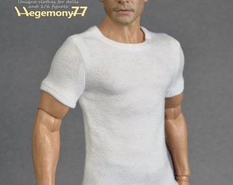 1/6th scale white T-shirt for: regular size collectible movable action figures and male fashion dolls