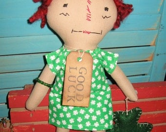 Primitive Irish Red Hair Raggedy Doll With Shamrock